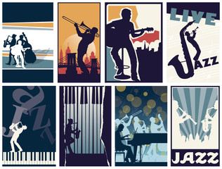 Set of 8 different vector jazz posters © PrintingSociety