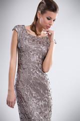 Fashionable woman in stylish dress