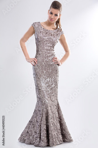 model posing in long elegant dress