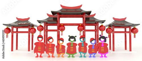 3D Chinese people and Chinese pavilion in white background