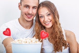 couple with pop corn