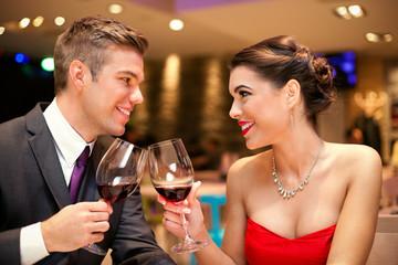 Love couple toasting