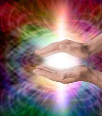 Male with rainbow healing energy