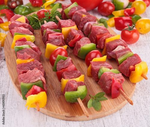 raw beef skewers