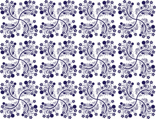 seamless pattern with berries and flowers in two colours