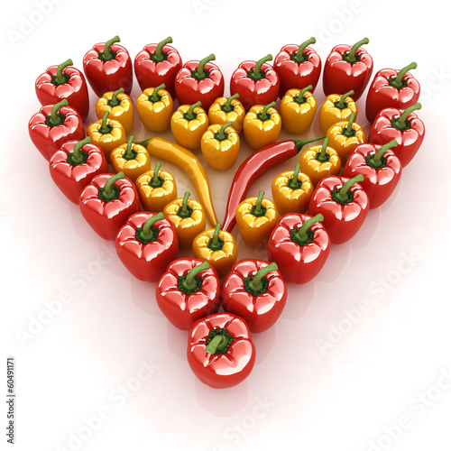 Bulgarian Pepper Heart Shape, On White Background