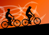 Active man and woman cyclists bicycle riders in abstract arrow l