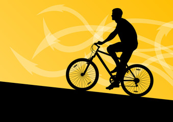 Active man cyclist bicycle rider in abstract arrow line landscap