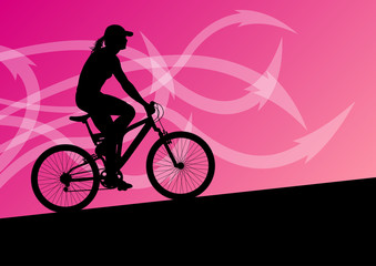 Active woman cyclist bicycle rider in abstract arrow line landsc