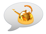 messenger window icon and glossy golden kettle