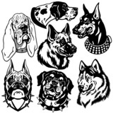 dogs heads set black white