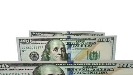 New one hundred dollars flat bills in carousel. Loop on white