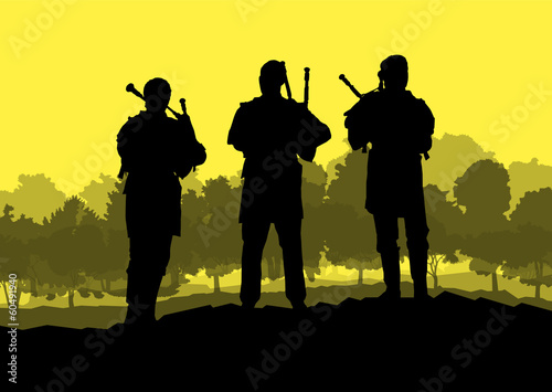 Scottish bagpiper silhouette landscape vector background concept