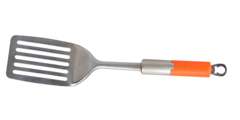 metal spatula with orange handle