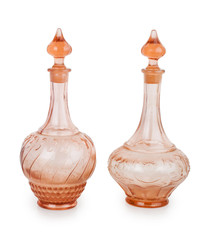 two glass decanters