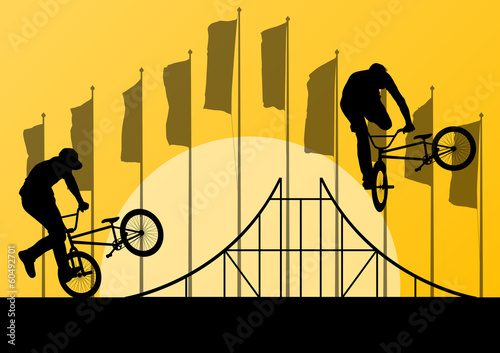 Extreme cyclist active sport silhouettes vector background illus © kstudija