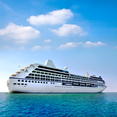 Luxury white cruise ship.
