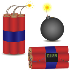Pyrotechnic vector icon set. Vector illustration EPS-10.