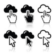 Cloud with cursor hand and arrow icons set