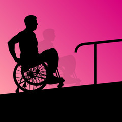 Active disabled young men on a wheelchair detailed health care s