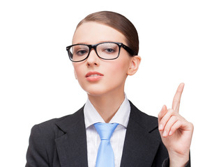 Female businessperson pointing on product