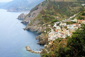 Coast of Riomaggiore in Ligurian region