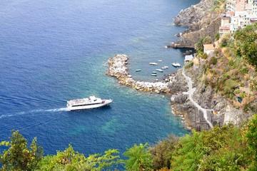 Boat approaching to Riomaggiore marina