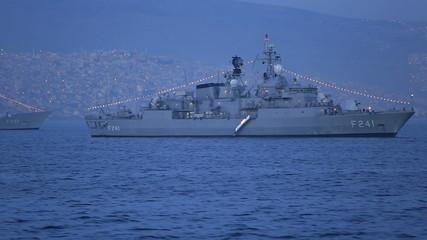frigate war ship anchored on the Bay