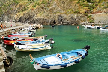 Boats in in the marina of Vernazza