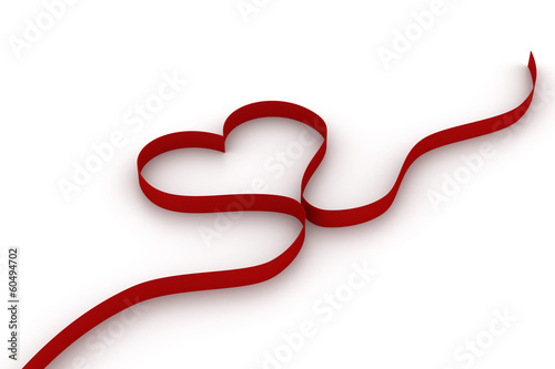 Heart with red ribbon