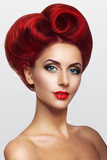 Lady with red hair in the shape of heart