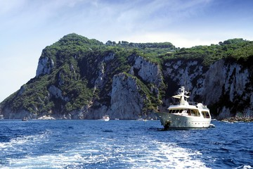Yacht anchored in Capri island
