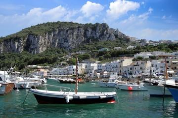Boats in Marina Grande in Capri island
