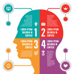 Infographic Concept witth Vector Human Head