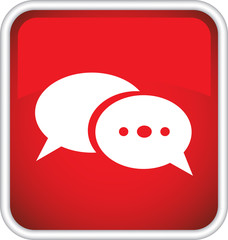 Красный  векторный значок с изображением sms