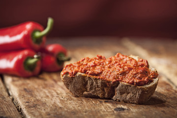 Vegetable Pepper Spread on bread