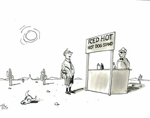 Red hot food stand