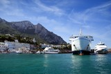 Ferry ship and yachts in Capri island