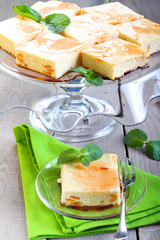 Squares of cheesecake