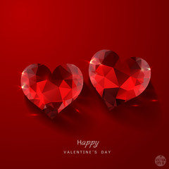 Valentine with couple red heart diamond, vector