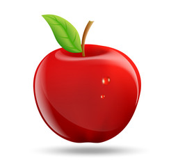 drawing a red apple on a white background