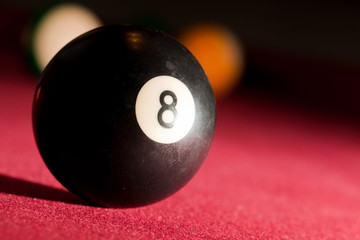 Billards pool or snooker game. The black eight ball.