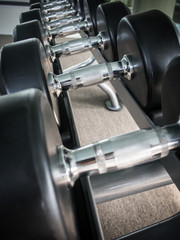 Dumbbell on rack in the gym