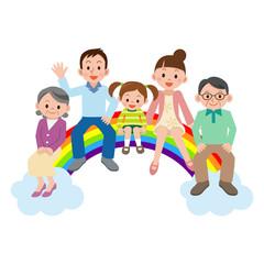虹の架け橋に座る幸せ大家族