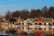 Leinwanddruck Bild - The famed Philadelphia's boathouse row in Fairmount Dam Fishway