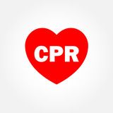 Heart icon with CPR sign poster