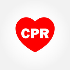 Heart icon with CPR sign