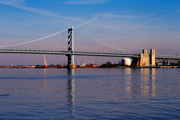 View of Philadelphia's Ben Franklin bridge