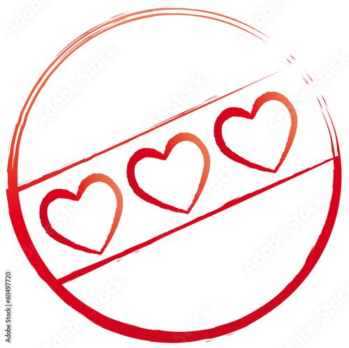 Stempel mit drei Herzen
