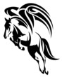 winged horse design - black and white tribal style pegasus